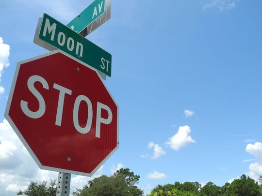 Moon Street in southeast Palm Bay is may be named in honor of the Apollo missions, but more likely is just another in a string of celestial street names in the area.