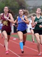 Haldane's Abbey Stowell  her way to winning the girl's  pentathlon during the  Somers Lions Club Joe Wynne track and field invitational at Somers High School May 5, 2018.