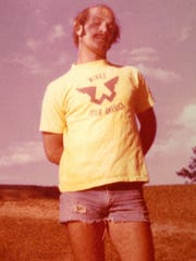 Mike Kudzia in 1979, wearing the Wings Over America tour shirt he bought at Paul McCartney's Olympia Stadium stop in 1976.
