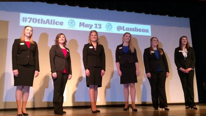From left, Kelly Wilfert of Two Rivers, Kaitlyn Riley of Gays Mills, Crystal Siemers-Peterman of Cleveland, Alexis Dunnum of Westby, Jenna Crayton of Oak Creek and Abrielle Backhaus of Kewaskum are announced as the candidates for 70th Alice in Dairyland at the Neville Public Museum of Brown County in Green Bay, Wis., on Friday, March 17, 2017. The candidates will vie for the one-year paid position of Wisconsin's agricultural ambassador from May 11-13 in Brown County.