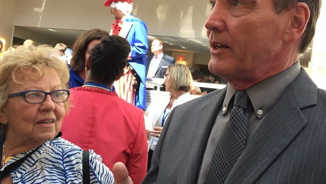 Gay Assemblyman Tim Eustace and state Sen. Loretta Weinberg, both Democrats from Bergen County, at a Democratic National Convention event boycotted by state Senate President Stephen M. Sweeney on Wednesday over an LGBT controversy
