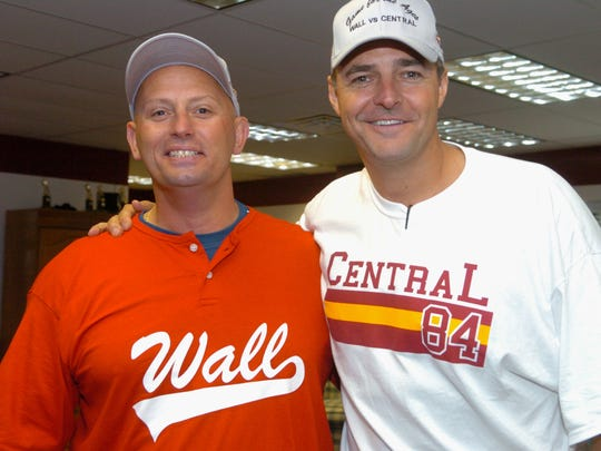 Former Wall pitcher John Spinapont (left) and former Central Regional star Al Leiter at an event in 2009, 25 years after they combined to strike out 50 batters in a scoreless 13-inning game.
