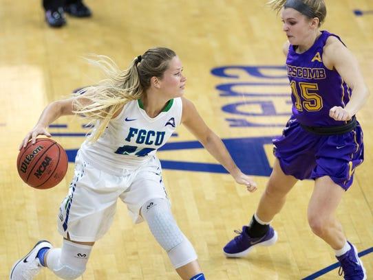 FGCU's Taylor Gradinjan drives to the basket against