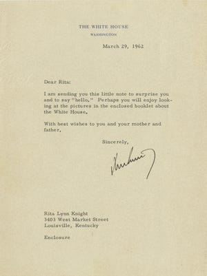 This 1962 letter was sent from JFK to a Louisville girl.