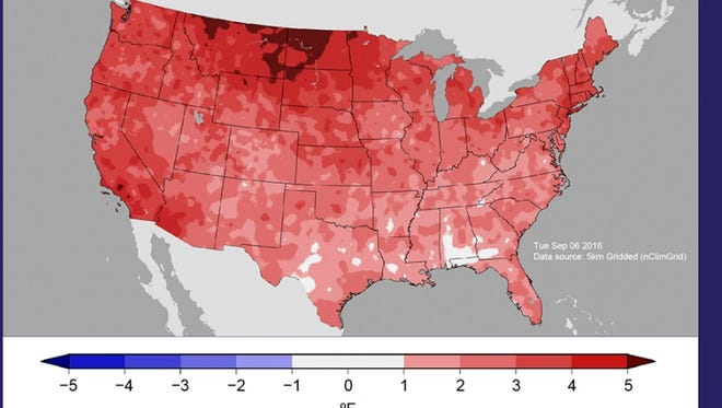 This map shows the difference in the average temperature in the United States January-August of this year versus the average for the 20th Century. The darker the red, the more above normal temperatures were.