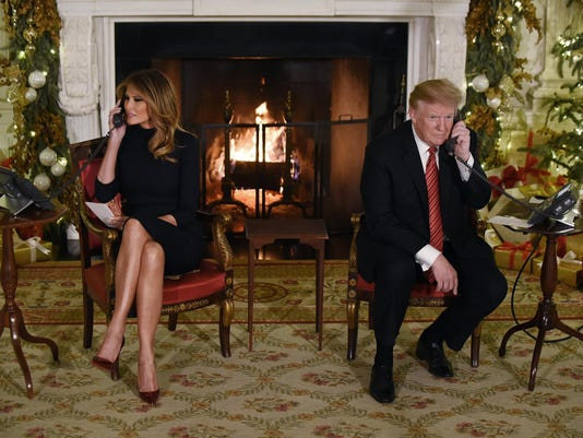 President Trump and the First Lady participate in NORAD Santa Tracker phone calls - DC