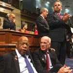 U.S. Rep. Peter Welch, D-Vt., joins other Democrats in a sit-in Wednesday, June 22, 2016, on the House floor in Washington to protest inaction on gun legislation.