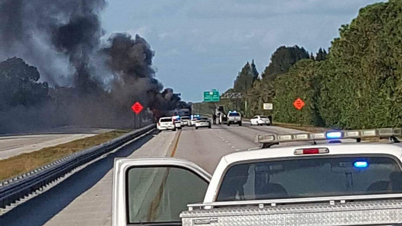 A camper driven by a suspect caught fire after a chase ended near Melbourne on Saturday, Dec. 3, 2016. Video courtesy Eric Ferrante.