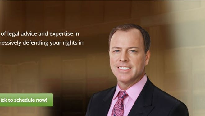 An advertisement on the home page of maasenlaw.com on April 23, 2018, shows attorney Scott Maasen.