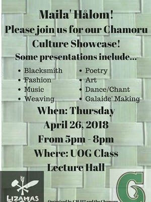 Chamoru Culture Showcase event from 5 to 8 p.m. April 26, 2018 at the University of Guam lecture hall.