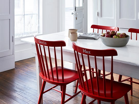 For easy and stable stenciling, flip chairs over onto