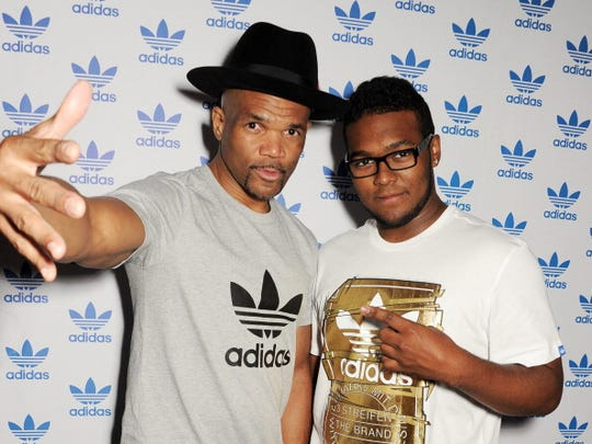 """DMC Squared,"" a film about Dson McDaniels (right), the son of Darryl ""DMC"" McDaniels of Run-DMC (left), details his attempt to follow his dad in a career in hip-hop."