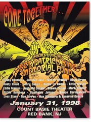 Poster from the Come Together concert, held Jan. 31, 1998 in Red Bank, signed by all the participants.