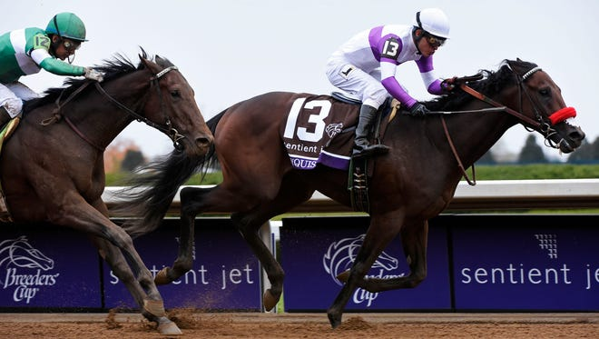 Jockey Mario Gutierrez rode Nyquist to victory in the Breeders' Cup Juvenile on Halloween.