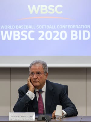 Riccardo Fraccari, President of World Baseball Softball Confederation (WBSC) gives a presentation during the interview session on August 7, 2015 in Tokyo, Japan. The delegates from the eight shortlisted international federations -Baseball/Softball (WBSC), Bowling (WB), Karate (WKF), Roller Sports (FIRS), Sport Climbing (IFSC), Squash (WSF), Surfing (ISA), Wushu (IWUF) - were interviewed to be considered for inclusion at the Tokyo 2020 Olympic Games. Tokyo's final choice of events to be proposed to the IOC will be made by September 30, 2015.