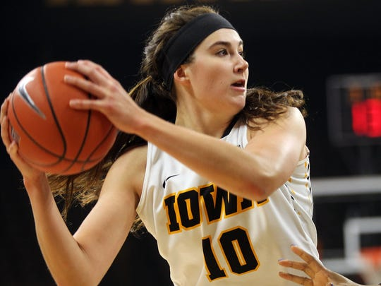 Iowa's Megan Gustafson looks for an open teammate during