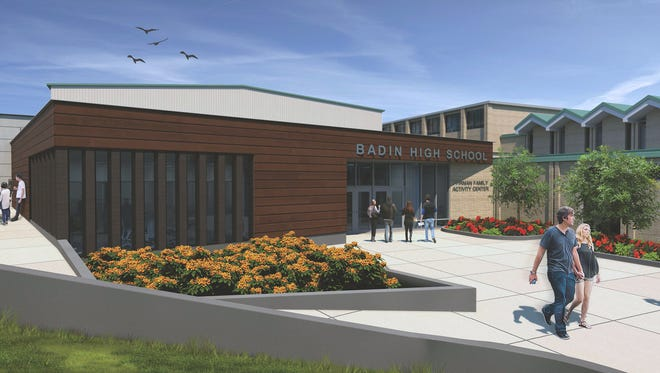 This is an artist's rendering of what Badin High School will look like after the Student Development Center opens in January. The 8,000-square-foot addition will connect the original building to the Pfirman Activity Center, built in 2006.