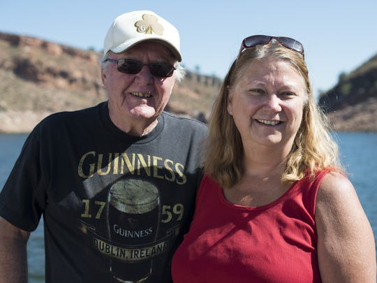 "Ted and Lorrie Eichholz spend weekends on their boat, ""Ted's Place,"" in the Inlet Bay Marina on Horsetooth Reservoir in the summer months, returning to land after the season."