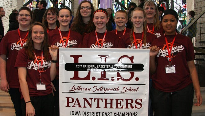 Members of the Lutheran Interparish School girls' basketball team are front row (l-r): Nicole Wardenburg, Madison Schmidt, Kathryn Sitas, Lydia Armbrecht and Lauren Pope. Second row: Lizzy Rethwish, assistant coach Elyse Wilde, Olivia Schnebbe, manager Simeon Armbrecht and coach Donna Armbrecht.