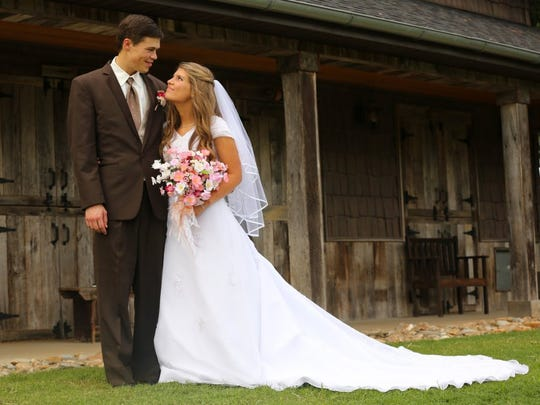 Courtesy of UpTV Michaella (Bates) Keilen, right, poses with her husband Brandon on their wedding day.