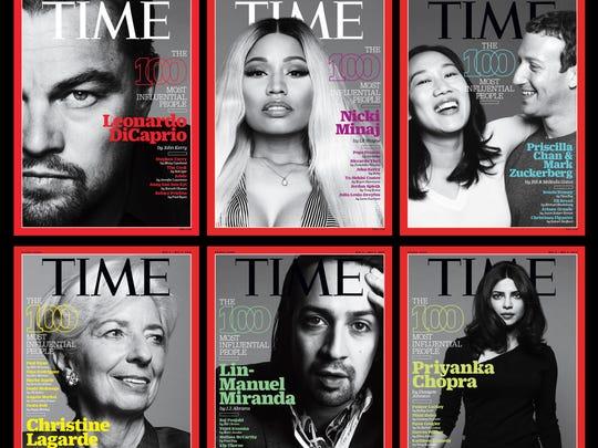 The 'Time 100' covers for 2016 feature Leonardo DiCaprio, Nicki Minaj, Priscilla Chan with husband Mark Zuckerberg, Christine Lagarde, Lin-Manuel Miranda and Priyanka Chopra.