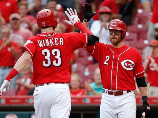 Cincinnati Reds' Jesse Winker (33) celebrates with Zack Cozart (2) after hitting a solo home run off Pittsburgh Pirates starting pitcher Ivan Nova in the seventh inning of a baseball game, Saturday, Sept. 16, 2017, in Cincinnati. (AP Photo/John Minchillo)