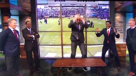 Bill Cowher jumped through a table in the CBS pregame show