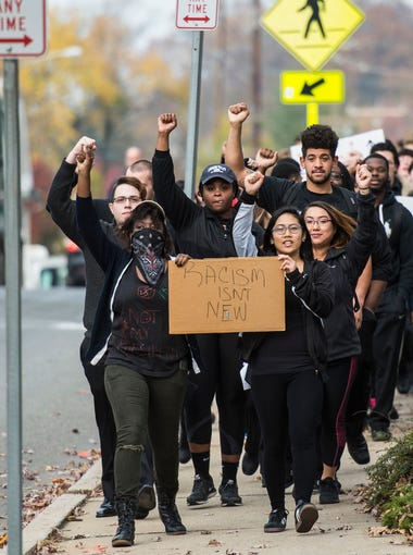 Hundreds of students, faculty and staff at Lebanon Valley College participated in a march to demonstrate against hate on Wednesday, Nov. 16, 2016. Earlier in the week a racist message was written on the Women's Services and Gender Resources Center.