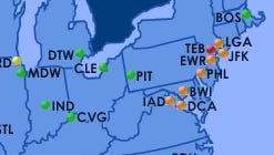A screenshot of the Federal Aviation Administration's flight delay map shows delays in the Northeast as of 2:15 p.m. ET on Aug. 20, 2015.