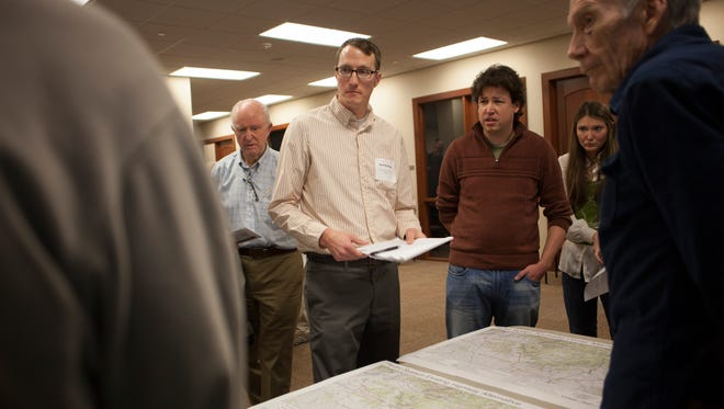 Joel Williams, from the Utah Division of Water Resources answers questions about the proposed Lake Powell Pipeline Wednesday, Jan. 13, 2016.