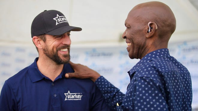 Green Bay Packers quarterback Aaron Rodgers was in Lusaka, Zambia, in southern Africa last weekend with girlfriend Danica Patrick as part of Starkey Hearing Foundation mission to help fit people there with hearing aids.