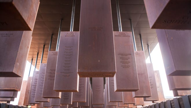 The National Memorial for Peace and Justice, which opened April 26 in Montgomery, includes steel monoliths for each county where racial terror lynchings occurred and names each victim in the counties. Identical ones are located around the park for counties to accept and install them.