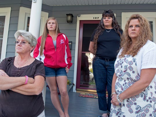 Members of murder victim Terri King's family say they want to see Donald Fell put to death. Charlotte Tuttle, from left, is Terri's sister; Taylor Worcester is Terri's granddaughter; Lori Hibbard is Terri's oldest daughter; and Karen Worcester is another of Terri's daughters.