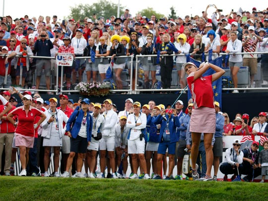 USA golfer Lexi Thompson drives the ball hitting the first green which is a 306 yard par 4 during the first round morning session during The Solheim Cup international golf tournament at Des Moines Golf and Country Club. TODAY Sports