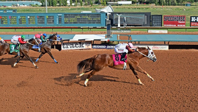 Hold Air Hostage demolished a strong field to win the Grade 1, $1,150,000 Rainbow Derby on Sunday afternoon at Ruidoso Downs.