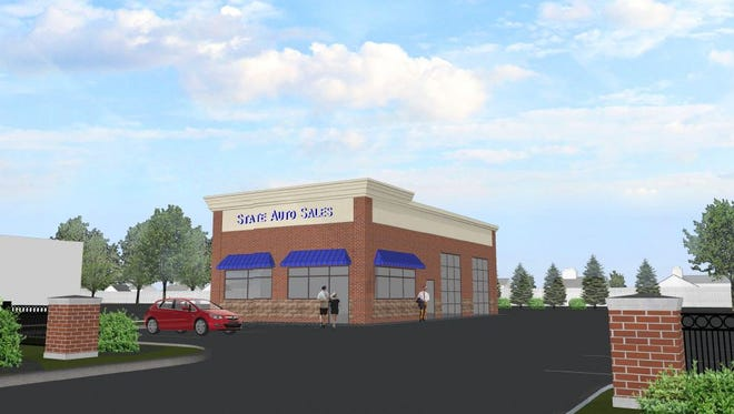 A rendering of the proposed used car dealership at the site of the former Penalty Box bar on Plymouth Road in Livonia.