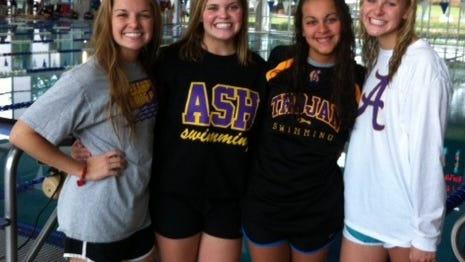 Alexandria Senior High set a school record of 3:57.17 in the girls' 400-yard freestle relay at the Bulldog Aquatic Invitational at Ruston over the weekend. The swimmers were from left, Erin Armstrong, Annalise Ahrens, Brianna Serret and Sarah Harrison.