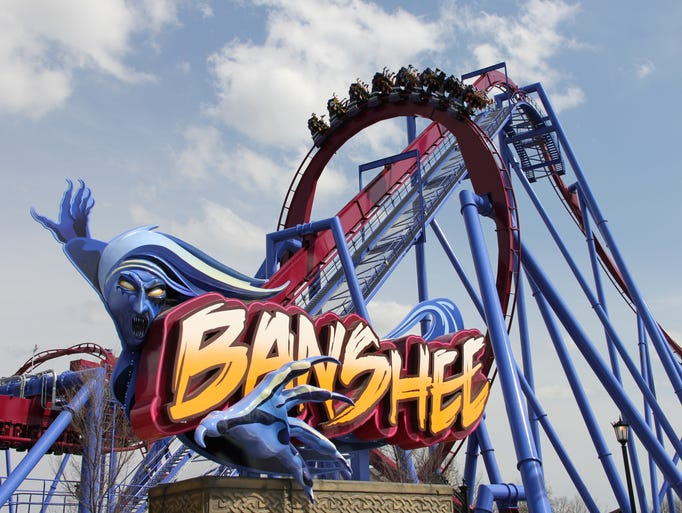 Kings Island's new Banshee roller coster stretches 4,124 feet and includes seven inversions.