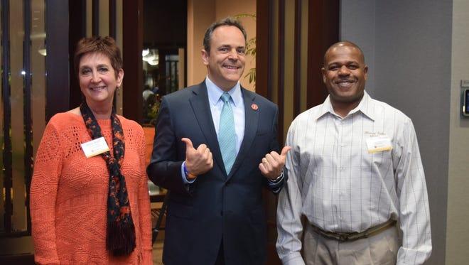 From left to right, Verna Wyatt, Kentucky Gov. Matt Bevin and Anthony Charles.