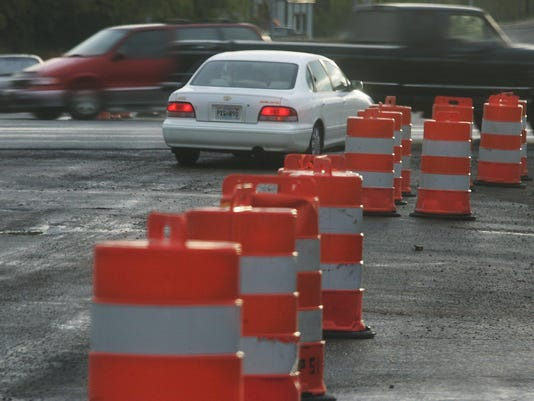 Cones on W. Lokey made it difficult for cars