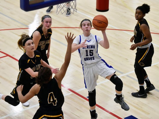 Spring Grove's Lexi Hoffman shoots against Red Lion