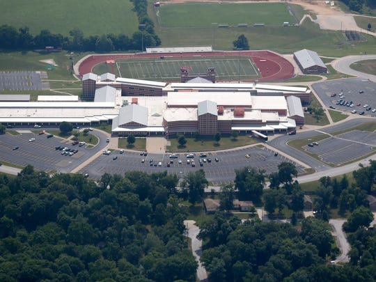 Ozark High School from the air on Friday, June 9, 2018.