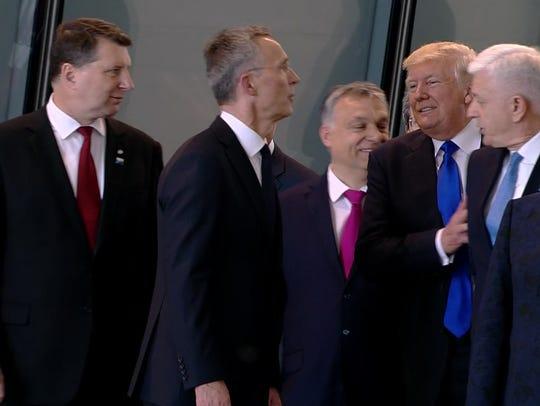 In this image taken from NATO TV, Montenegro Prime