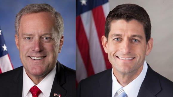U.S. Reps. Mark Meadows, left, and Paul Ryan