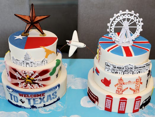 British Airways and Austin went all-out with destination-themed cakes to make the occasion.  British Airways and Austin went all-out with destination-themed cakes to make the occasion. The cakes, provided by the W Austin's executive pastry chef, were offered to fliers on BA's inaugural Austin departure.