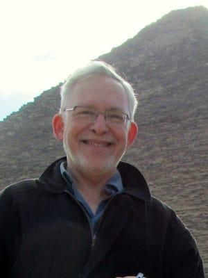 Journalist Mark Lavie at the Great Pyramid near Cairo. Lavie will speak in Asheville April 10.