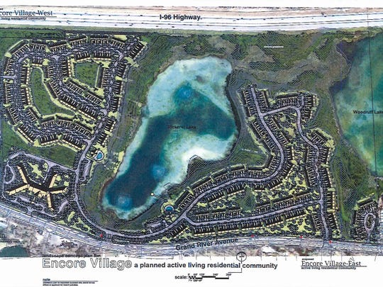 A rendering shows plans for Encore Village on 147 acres