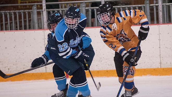 Schoolcraft forward Zach Nichols (No. 12), shown from earlier this season, scored a goal in each of two weekend games against Ferris State.