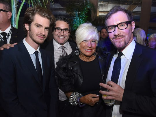 Actor Andrew Garfield, Shari Applebaum and Mark Adams attend the 28th Annual Palm Springs International Film Festival at Parker Palm Springs on January 2, 2017 in Palm Springs, California.