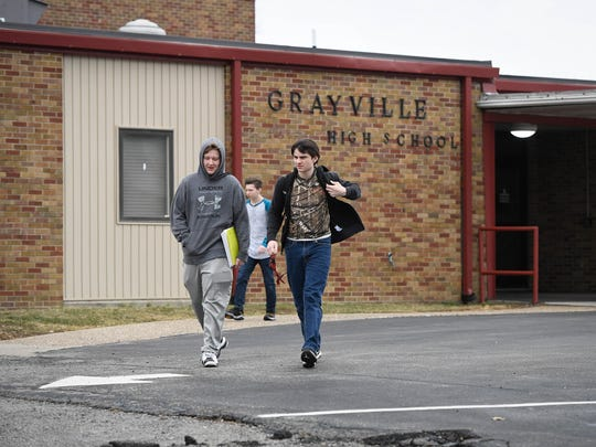 Class lets out at Grayville High School Tuesday.  Serving the southern Illinois town of approximately 1,600 residents, the 7-12 grade school had a enrollment of 133 in 2017, January 23, 2018.